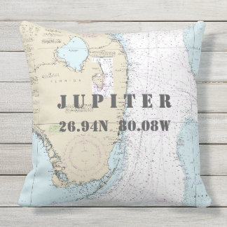 Nautical Chart Latitude Longitude Jupiter, Florida Throw Pillow
