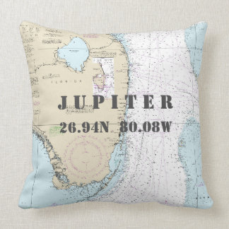 Nautical Chart Latitude Longitude Jupiter, Florida Throw Pillow