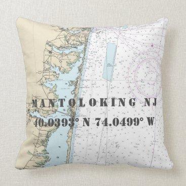 Beach Themed Nautical Chart Latitude Longitude: Mantoloking NJ Throw Pillow