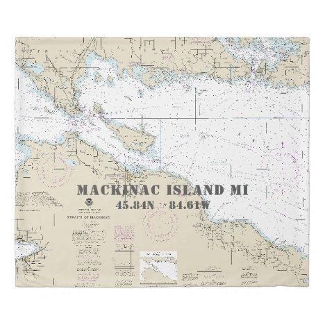 Nautical Chart Latitude Longitude: Michigan KING Duvet Cover