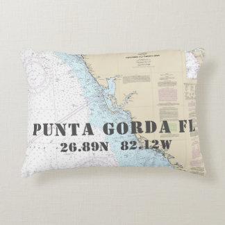 Nautical Chart Latitude Longitude Punta Gorda FL Accent Pillow