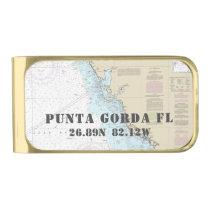 Nautical Chart Latitude Longitude: Punta Gorda FL Gold Finish Money Clip