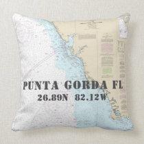 Nautical Chart Latitude Longitude Punta Gorda FL Throw Pillow