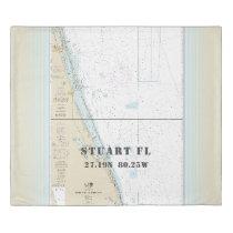 Nautical Chart Latitude Longitude: Stuart FL KING Duvet Cover
