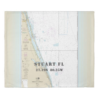 Nautical Chart Latitude Longitude: Stuart FL KING Duvet Cover
