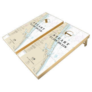 Nautical Chart Latitude Longitude: Stuart Florida Cornhole Set