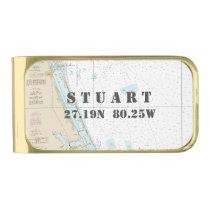 Nautical Chart Latitude Longitude: Stuart, Florida Gold Finish Money Clip