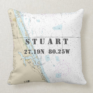 Nautical Chart Latitude Longitude: Stuart, Florida Throw Pillow