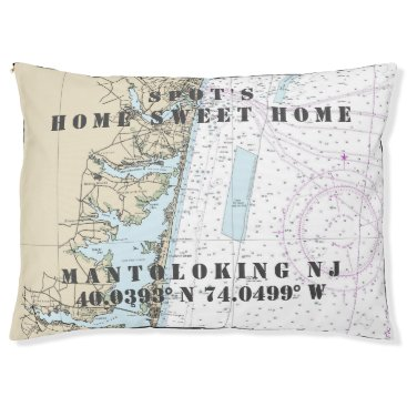 Beach Themed Nautical Chart Mantoloking New Jersey Pet's Name Pet Bed
