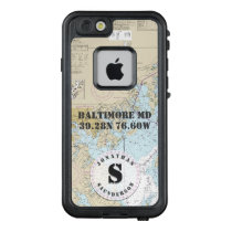 Nautical Chart Monogram Baltimore MD Boating LifeProof FRĒ iPhone 6/6s Case