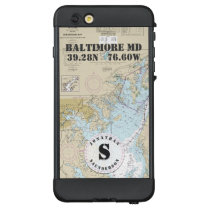 Nautical Chart Monogram Baltimore MD Boating LifeProof NÜÜD iPhone 6 Plus Case