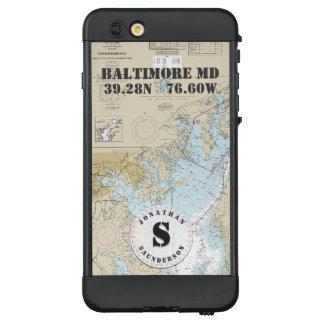 Nautical Chart Monogram Baltimore MD Boating LifeProof® NÜÜD® iPhone 6 Plus Case