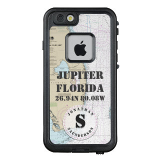 Nautical Chart Monogram Jupiter Florida LifeProof® FRĒ® iPhone 6/6s Case