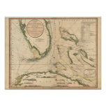 Nautical Chart of the Gulf of Florida Poster