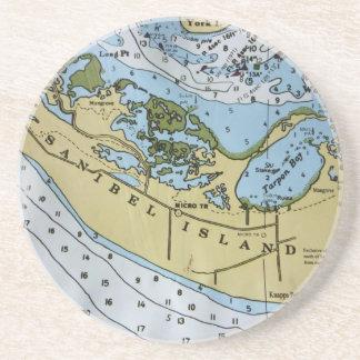 Nautical Chart Sanibel Sandstone Coaster