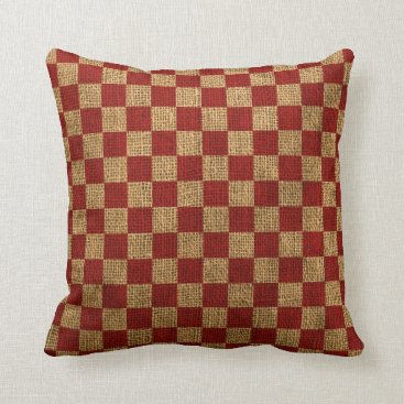 Beach Themed Nautical Check in Rustic Red Throw Pillow