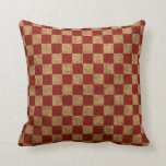 Nautical Check in Rustic Red Throw Pillows