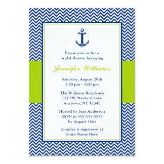Nautical Chevron Anchor Blue Green Bridal Shower Card
