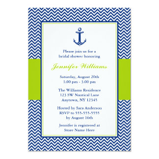 Nautical Chevron Anchor Blue Green Bridal Shower 5x7 Paper Invitation Card