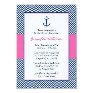 Nautical Chevron Anchor Blue Pink Bridal Shower 5x7 Paper Invitation Card