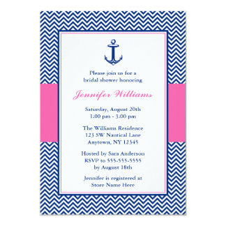 Nautical Chevron Anchor Blue Pink Bridal Shower Card
