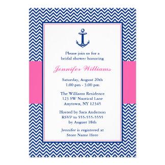 Nautical Chevron Anchor Blue Pink Bridal Shower Announcements