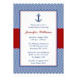 Nautical Chevron Anchor Blue Red Bridal Shower Custom Announcements