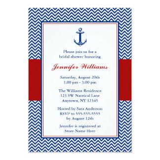 """Nautical Chevron Anchor Blue Red Bridal Shower 5"""" X 7"""" Invitation Card"""