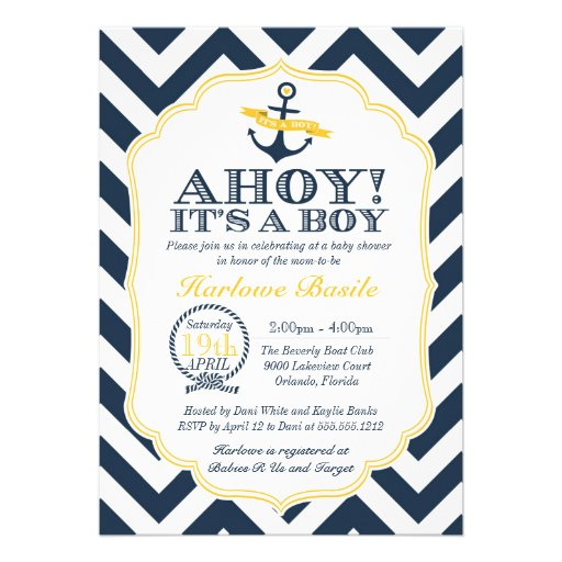 Nautical Chevron Baby Boy Shower Invitation