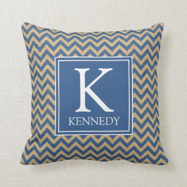 Beach Themed Nautical Chevron Monogram Throw Pillow