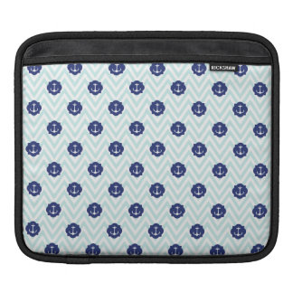Nautical Chevron Navy Blue Anchors Pattern Sleeve For iPads