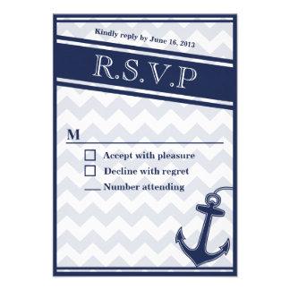 Nautical chevron navy blue RSVP invitation