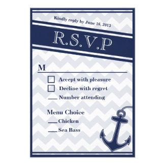 Nautical chevron navy blue RSVP menu 2 choices Custom Invitation