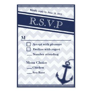 Nautical chevron navy blue RSVP menu 2 choices 3.5x5 Paper Invitation Card