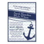 "Nautical chevron navy blue wedding invitation 5"" x 7"" invitation card"