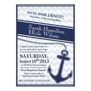 Nautical chevron navy blue wedding invitation 5