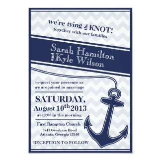 Nautical chevron navy blue wedding invitation