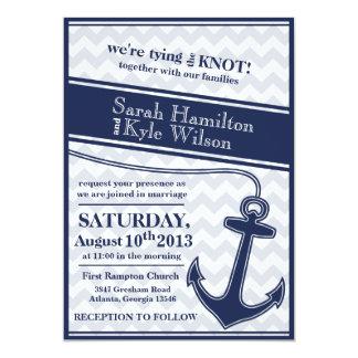 Nautical chevron navy blue wedding invitation