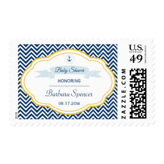 Nautical chevron navy gold baby boy shower stamps