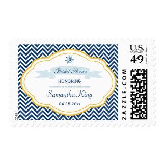 Nautical chevron navy gold bridal shower stamps