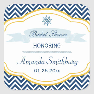 Nautical chevron navy gold bridal shower stickers