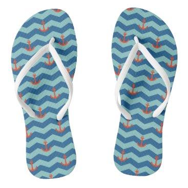 Beach Themed Nautical Chevron Pattern Flip Flops