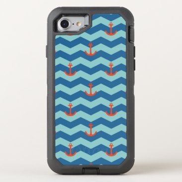 Beach Themed Nautical Chevron Pattern OtterBox Defender iPhone 7 Case