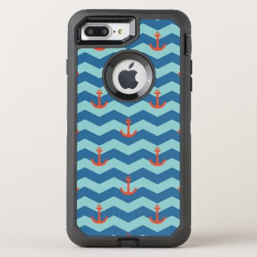 Beach Themed Nautical Chevron Pattern OtterBox Defender iPhone 7 Plus Case