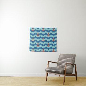 Beach Themed Nautical Chevron Pattern Tapestry