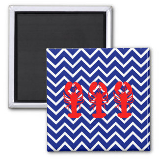 Nautical Chevron & Red Lobsters 2 Inch Square Magnet