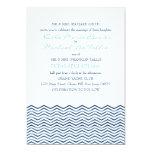 Nautical Chevron Waves Wedding Invitation
