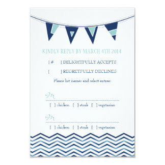 Nautical Chevron Waves with Love Banner RSVP Card