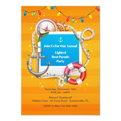 Nautical Christmas  Boat Parade Invitation