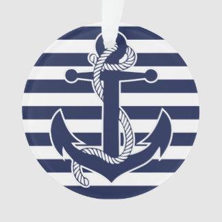 Nautical Christmas Ornament Blue Acrylic Anchor
